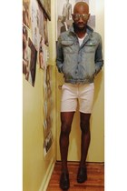 dark brown loafers Aldo shoes - sky blue denim jacket Zara jacket