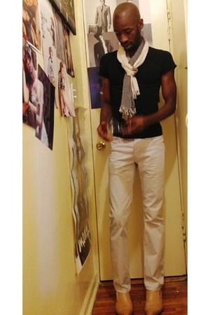 eggshell H&M jeans - black Zara shirt - linen H&M scarf