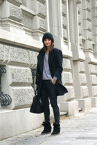 coat - jeans - hat - bag - wedges