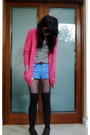 Blue-american-apparel-shorts-pink-american-apparel-cardigan-white-american-a