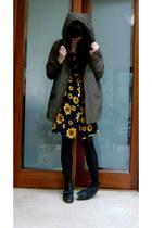 navy sunflower vintage dress - olive green parka asos coat