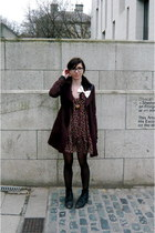crimson poppy print Topshop dress - dark brown trench Primark coat - white bow A