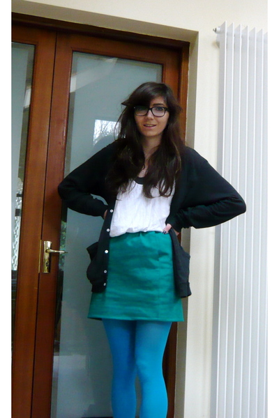 blue American Apparel tights - black American Apparel cardigan - green Californi
