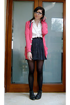 bubble gum American Apparel cardigan - navy polka dot pins and needles skirt - w