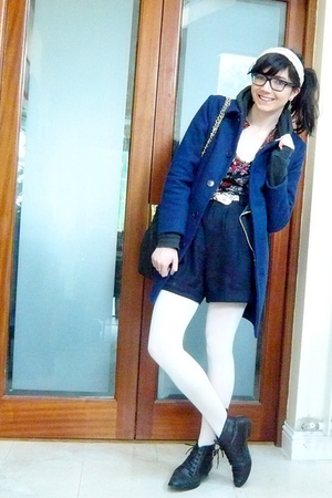 blue American Apparel coat - white American Apparel tights - blue California Sel