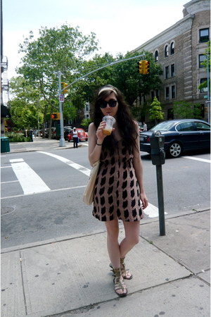 salmon check Urban Outfitters dress - black vintage sunglasses - bronze gladiato