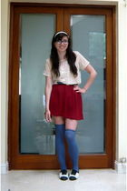red American Apparel skirt - white American Apparel t-shirt - blue American Appa