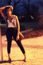 black Urban Outfitters pants - white Forever 21 shirt - blue i dont know vest