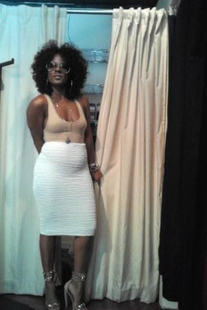 nude American Apparel bodysuit - ivory Iklektikk skirt