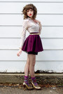 Peach-vintage-shirt-purple-target-socks-deep-purple-made-by-me-skirt-black
