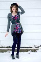 bubble gum Motel Rocks dress - navy thigh high American Apparel socks - black la