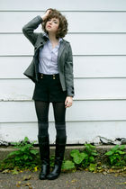 gray victoria secret jacket - black DSW sale something boots - black H&M shorts