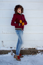 brick red Urban Outfitters jacket - light blue H&M Kids jeans - camel kensie boo
