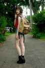Black-unknown-wedges-red-handmade-shirt-dark-khaki-unknown-bag