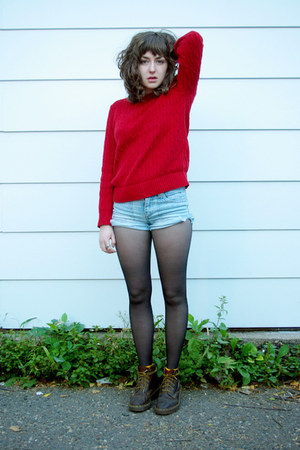 red cableknit Ralph Lauren sweater - dark brown doc martens boots - black tights