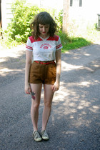 red blue jackets unknown shirt - brown vintage handmade shorts