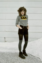 heather gray batman H&M Kids sweater - black doc martens boots