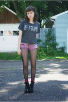 charcoal gray je taime unknown shirt - pink diy unknown shorts