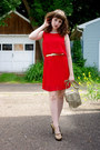 Gold-fringe-r-em-bag-red-drop-waist-unknown-dress-gold-unknown-belt