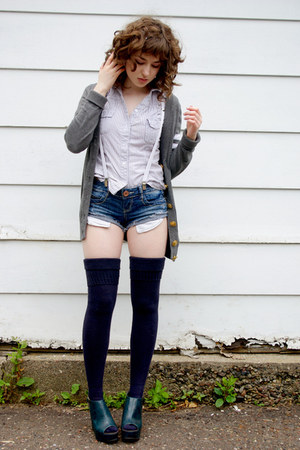 navy thigh high American Apparel socks - navy cut offs Hydraulic shorts