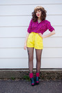 Hot-pink-umbrella-print-bettie-page-shirt-yellow-vintage-no-tag-shorts