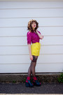 Hot-pink-umbrella-print-bettie-page-shirt-yellow-vintage-no-tag-shorts