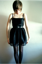 black H&M dress - black modcloth tights - black Secondhand belt