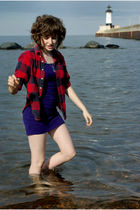 red Lands End shirt - purple Urban Outfitters dress - blue necklace - shoes