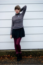 heather gray turtleneck Forever 21 sweater - black drop waist UO dress