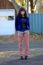 navy Divided blazer - Wanted shoes - romwe pants