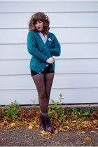 turquoise blue cozy knit India cardigan - deep purple doc martens boots