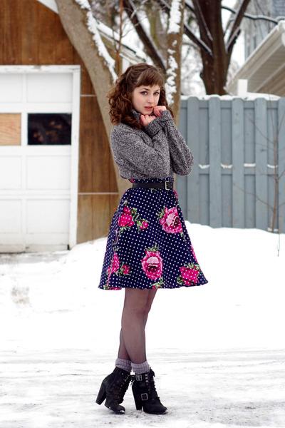 unknown skirt - Eddie Bauer sweater