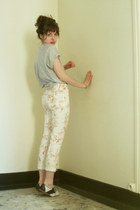 heather gray Zara shirt - eggshell floral Pimkie pants