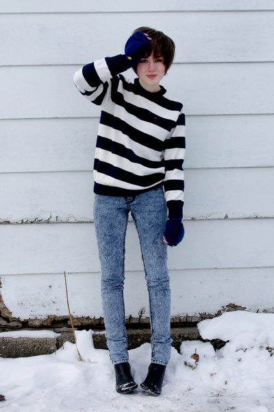 blue Cheap Monday jeans - blue Tommy Hilfiger sweater - black Donald J Pliner bo