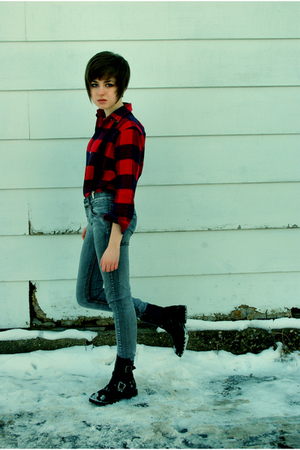 gray Cheap Monday jeans - red Lands End shirt - Dirty Laundry boots - silver Bet