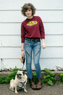 Brown-target-boots-blue-material-girl-jeans-red-monkey-business-sweater-be