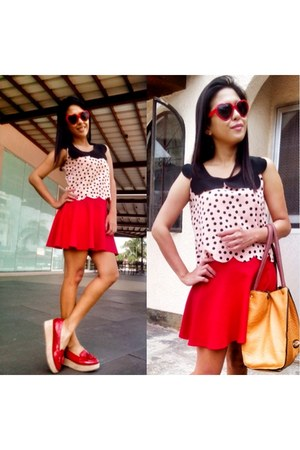 black blouse - red skirt - red loafers