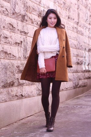 camel Mixxo coat - white Bershka sweater - brown custom mellow bag