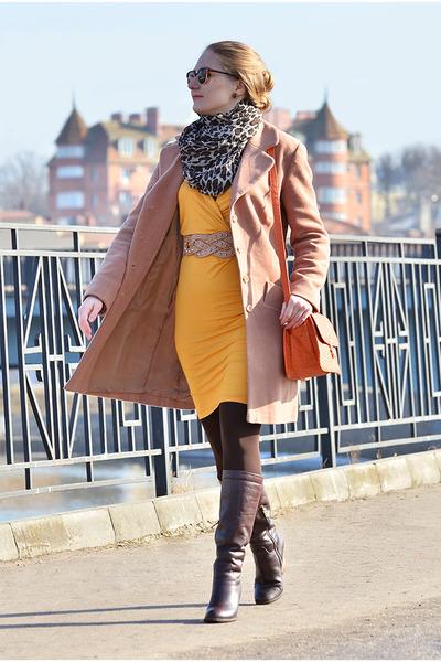 kira plastinina coat - Elche boots - asos dress - Orsay scarf - Celine bag