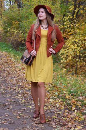 BonPrix dress - Stradivarius hat - BonPrix jacket - Zara bag