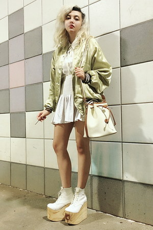vintage jacket - Deandri shoes - vintage bag - vintage blouse - Depop skirt