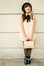 Black-platform-boots-light-pink-dress-black-bowler-hat-hat-light-pink-bag