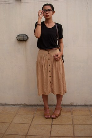 camel Local store skirt - black Local store t-shirt