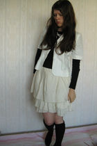 black Zara top - white SoFrench jacket - white Etsy skirt - black Calzedonia soc