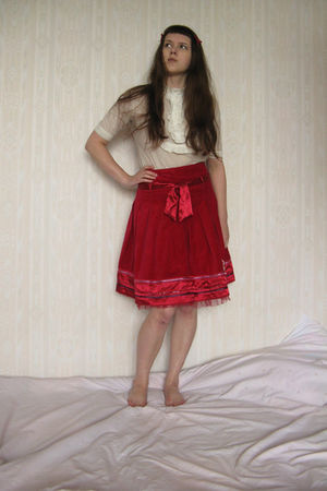 red Monsoon skirt - white SoFrench blouse