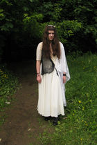 white vintage dress - white vintage scarf - black hand-made scarf - beige hand-m