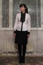white shirt - black Zara skirt - black leggings - black socks - black Alba shoes