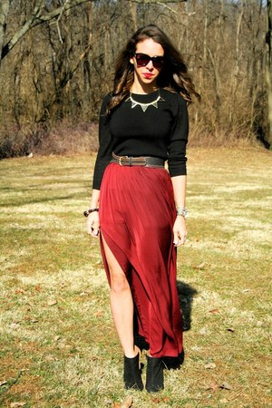 brick red Zara skirt - black peplum Loft blouse