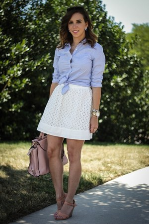 white eyelet Loft skirt - light blue button down Nordstrom shirt