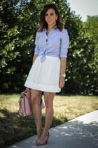 white eyelet Loft skirt - light blue button down Nordstrom shirt